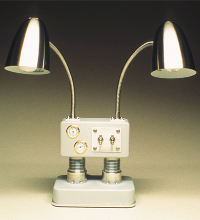 grey dual lamp with gauges