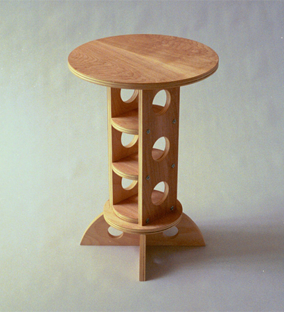 circular natural wood endtaable with internal shelves