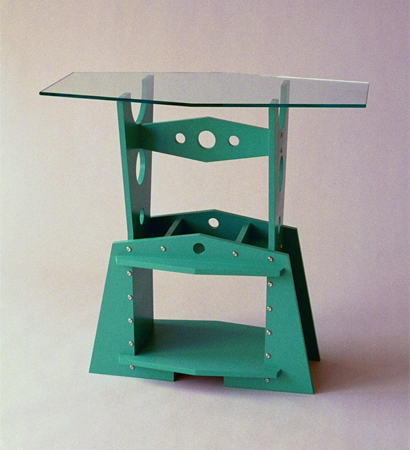 turquoise rectangular table with glass top